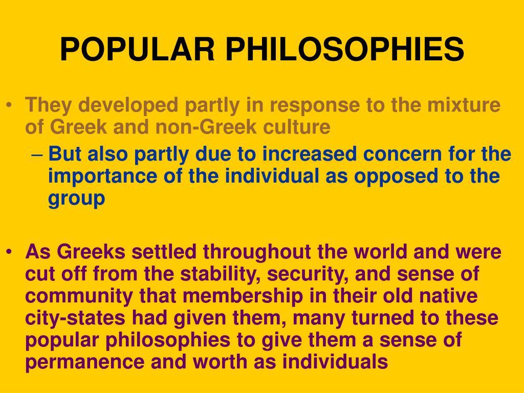 POPULAR PHILOSOPHIES