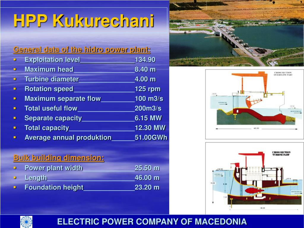 General data of the hidro power plant: