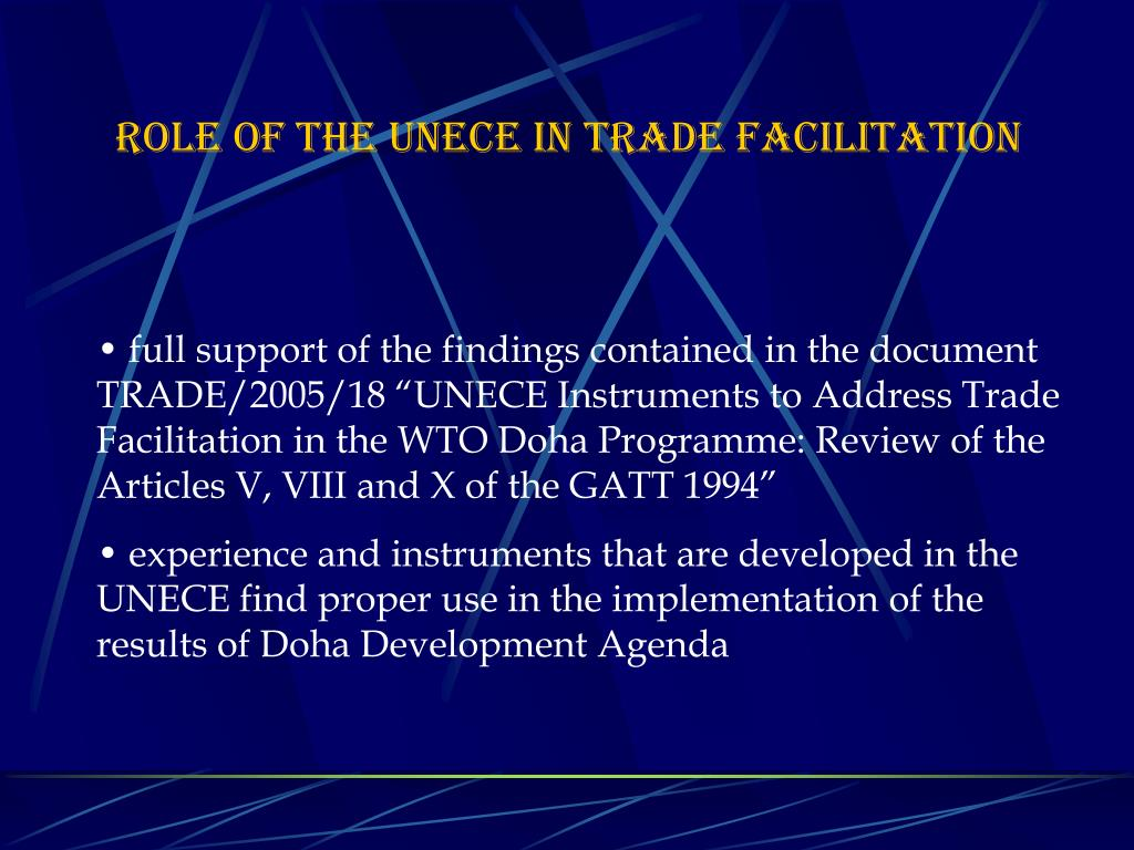 ROLE OF THE UNECE IN TRADE FACILITATION