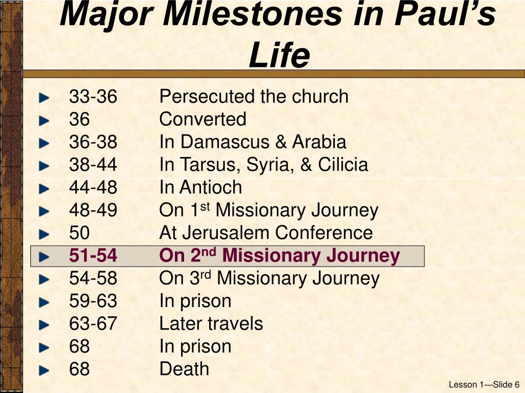 Major Milestones in Paul's Life