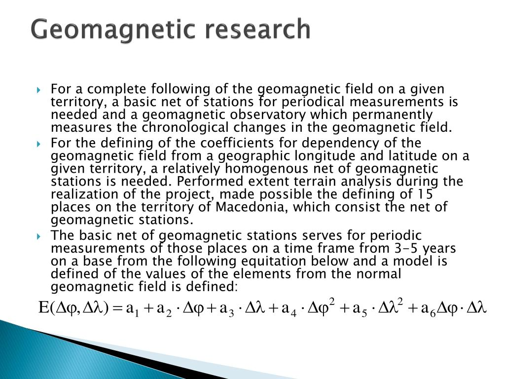 Geomagnetic research