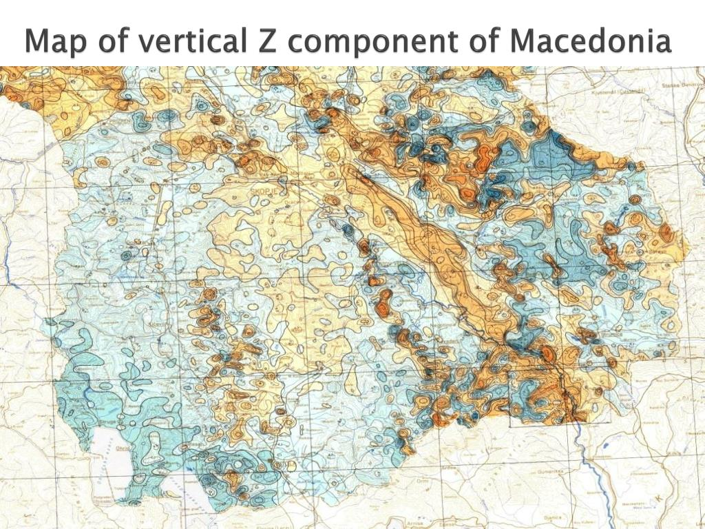 Map of vertical Z component of Macedonia