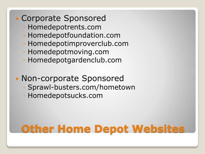 Other home depot websites