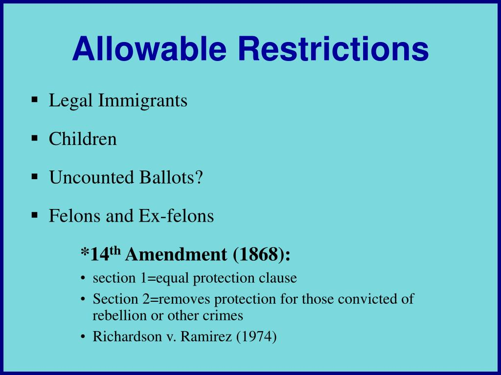 Allowable Restrictions