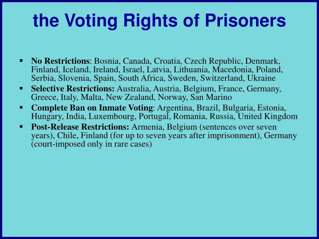 the Voting Rights of Prisoners