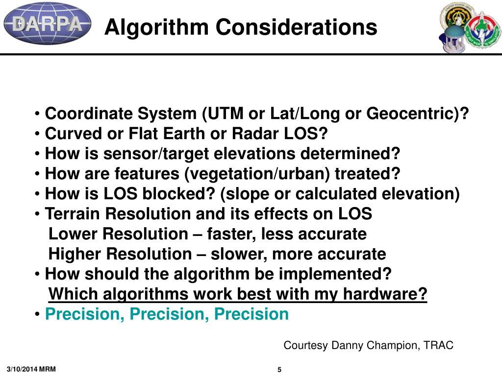 Algorithm Considerations