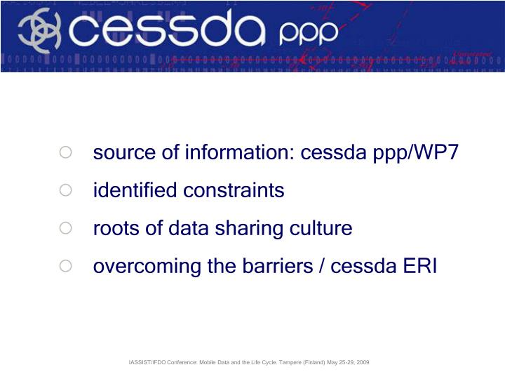 Source of information: cessda ppp/WP7