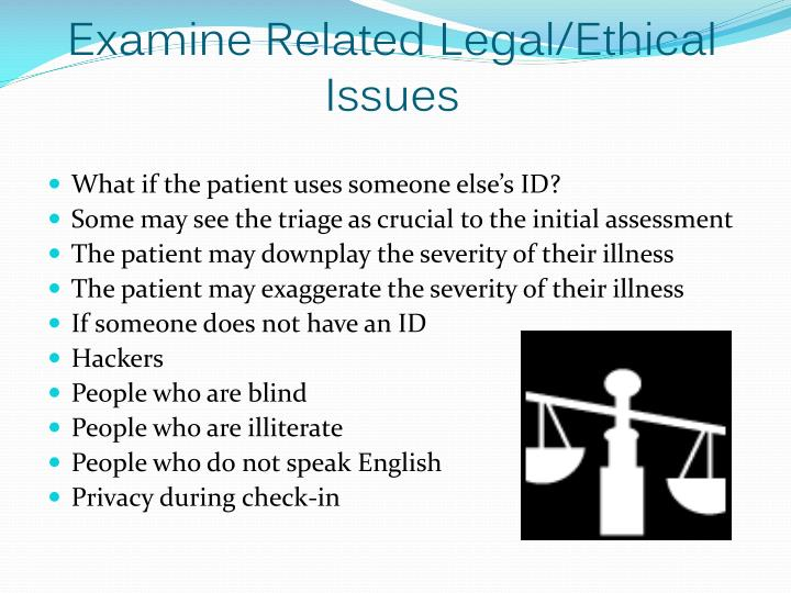 Examine Related Legal/Ethical Issues