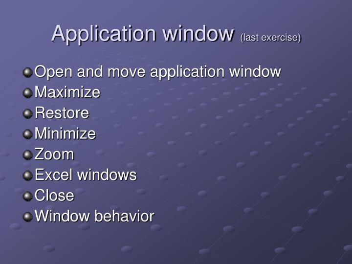 Application window