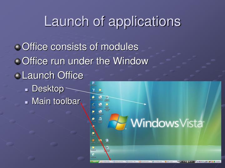 Launch of applications