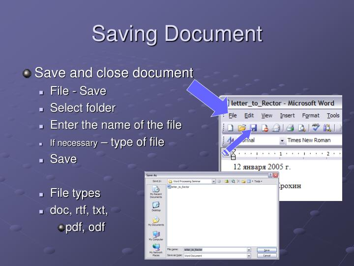 Saving Document