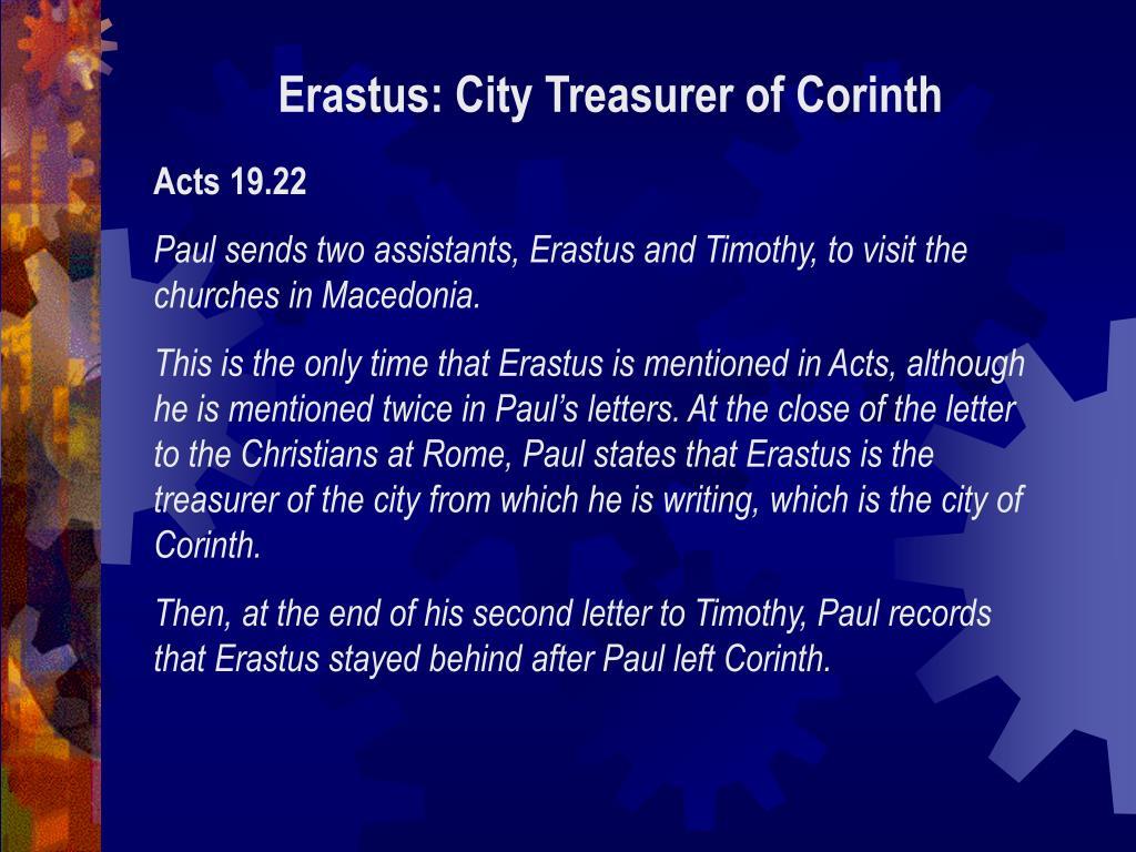 Erastus: City Treasurer of Corinth