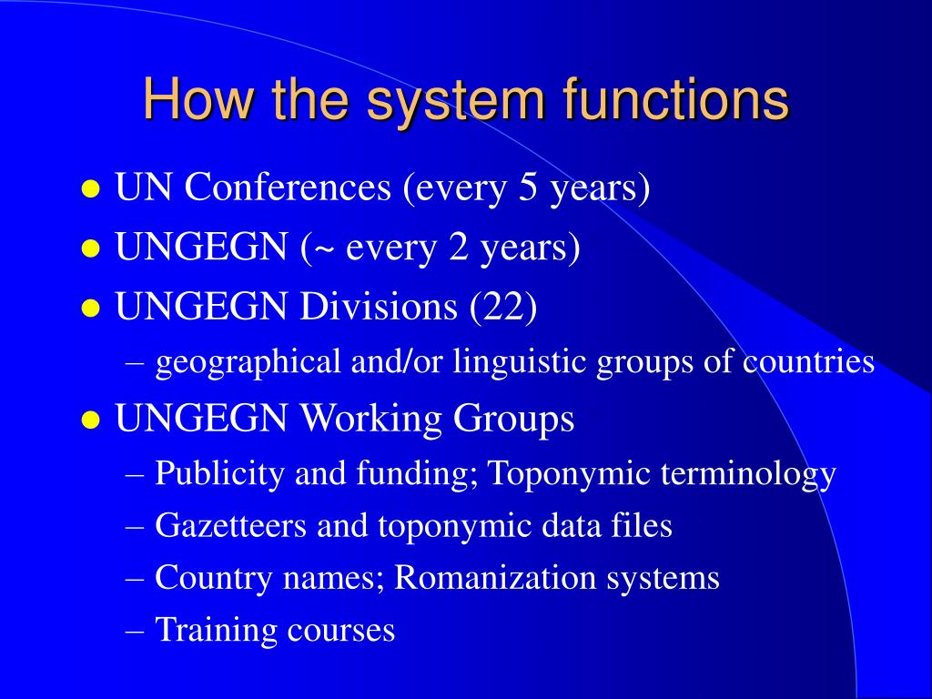 How the system functions