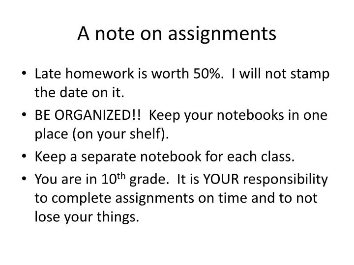 A note on assignments