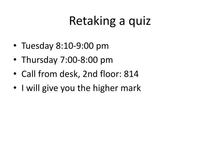 Retaking a quiz