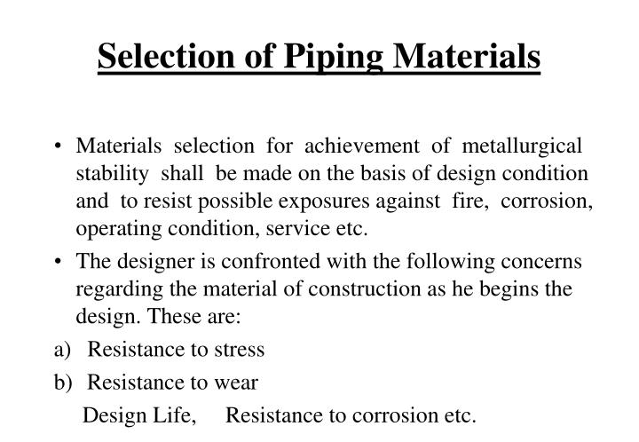 Selection of Piping Materials
