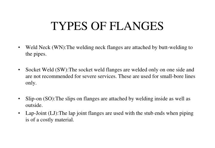 TYPES OF FLANGES