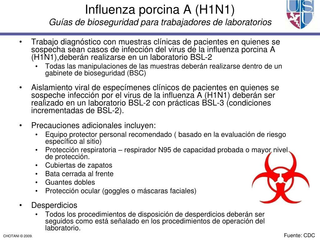 Trabajo diagnóstico con muestras clínicas de pacientes en quienes se sospecha sean casos de infección del virus de la influenza porcina A (H1N1),deberán realizarse en un laboratorio BSL-2