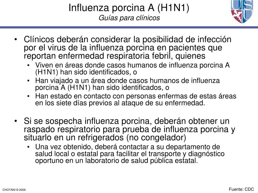 Clínicos deberán considerar la posibilidad de infección por el virus de la influenza porcina en pacientes que reportan enfermedad respiratoria febril, quienes