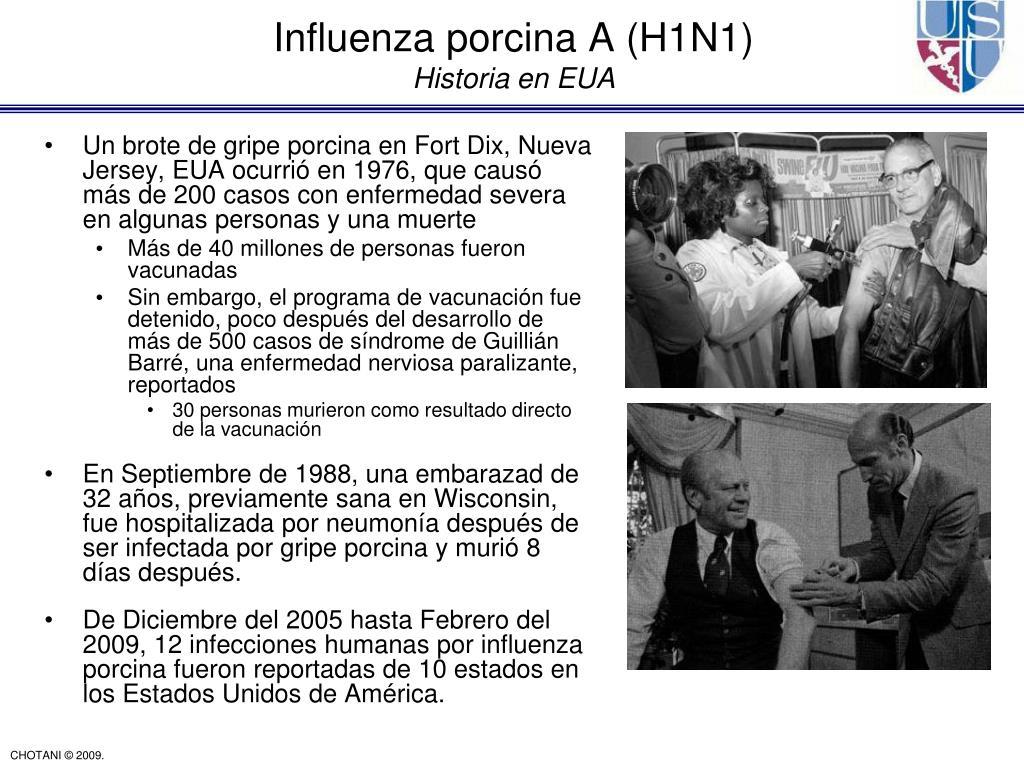 Un brote de gripe porcina en Fort Dix, Nueva Jersey, EUA ocurrió en 1976, que causó más de 200 casos con enfermedad severa en algunas personas y una muerte