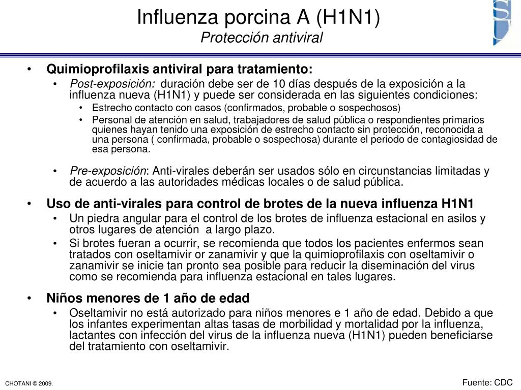 Quimioprofilaxis antiviral para tratamiento: