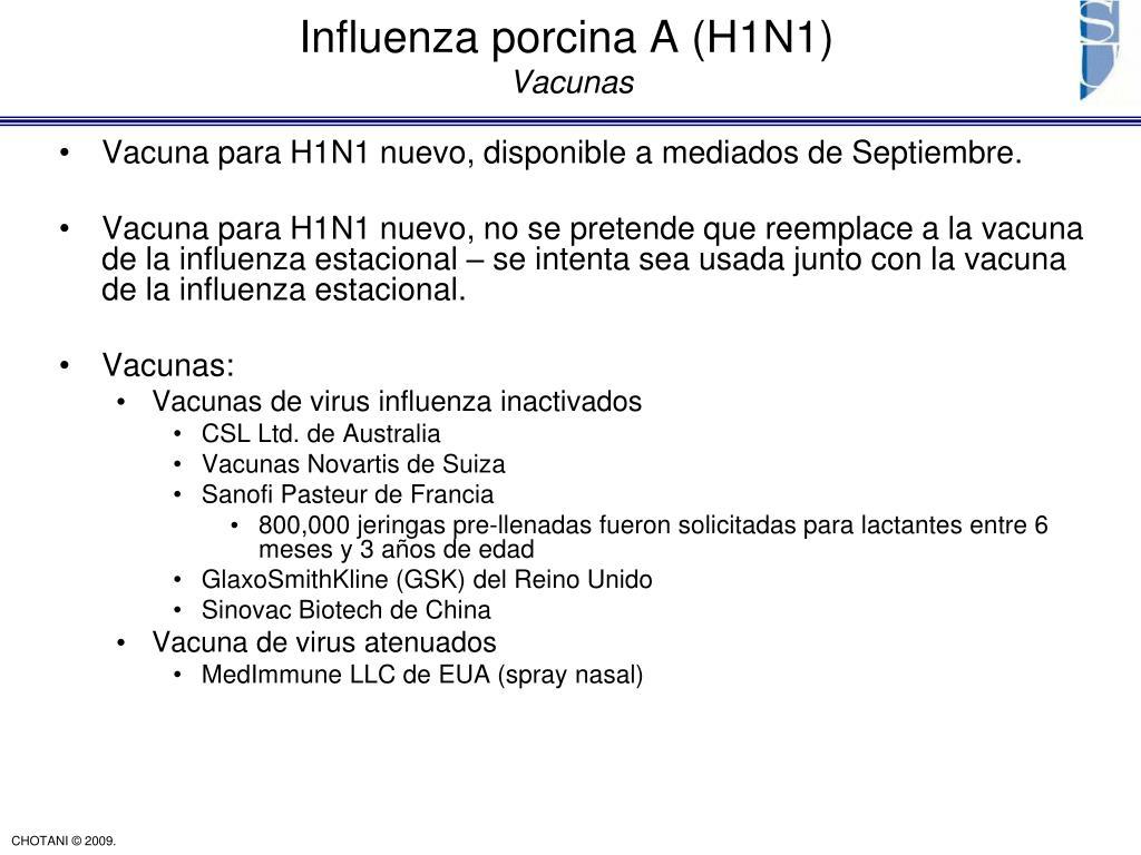 Vacuna para H1N1 nuevo, disponible a mediados de Septiembre.