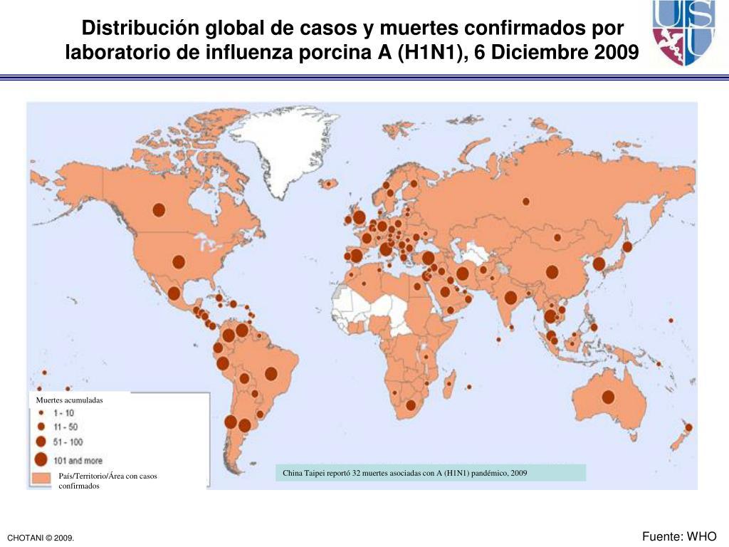 Distribución global de casos y muertes confirmados por laboratorio de influenza porcina A (H1N1), 6 Diciembre 2009