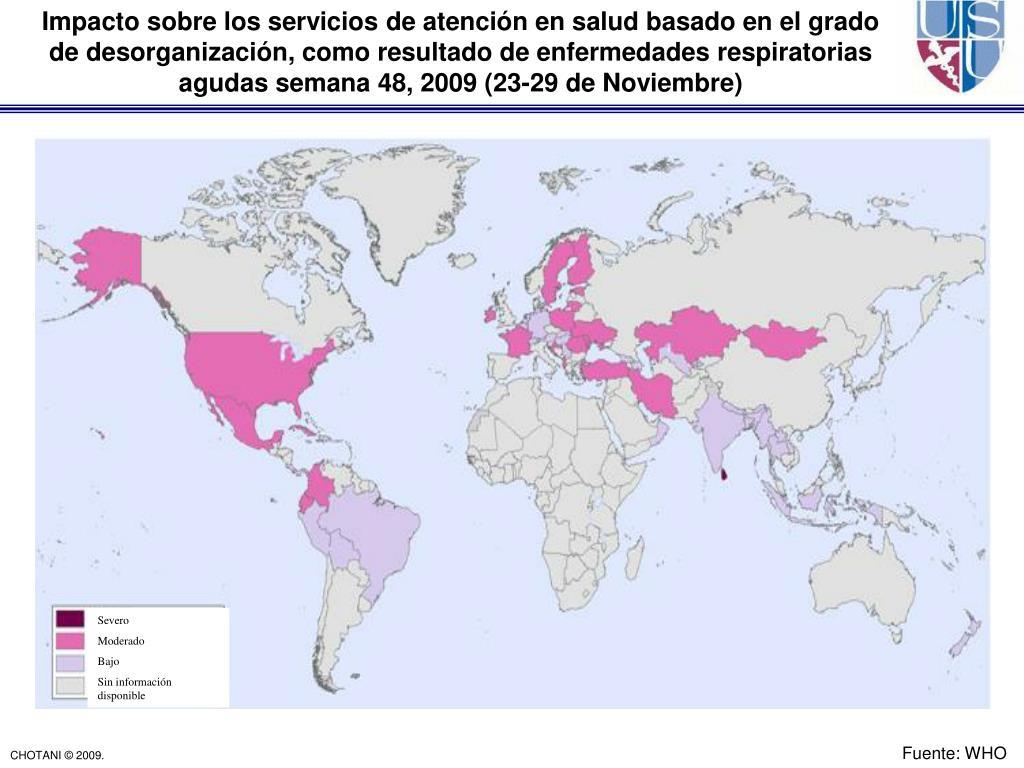 Impacto sobre los servicios de atención en salud basado en el grado     de desorganización, como resultado de enfermedades respiratorias agudas semana 48, 2009 (23-29 de Noviembre)