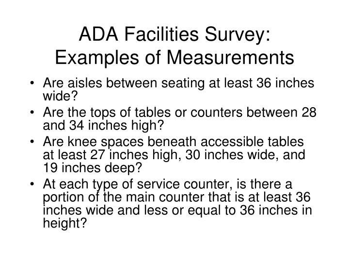 ADA Facilities Survey:
