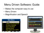 menu driven software guide
