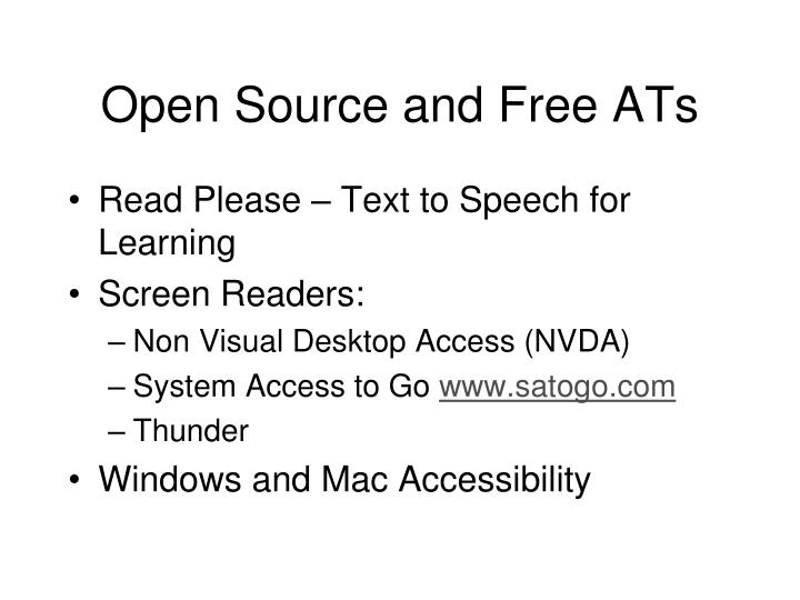 Open Source and Free ATs
