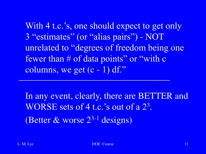 "With 4 t.c.'s, one should expect to get only 3 ""estimates"" (or ""alias pairs"") - NOT unrelated to ""degrees of freedom being one fewer than # of data points"" or ""with c columns, we get (c - 1) df."""