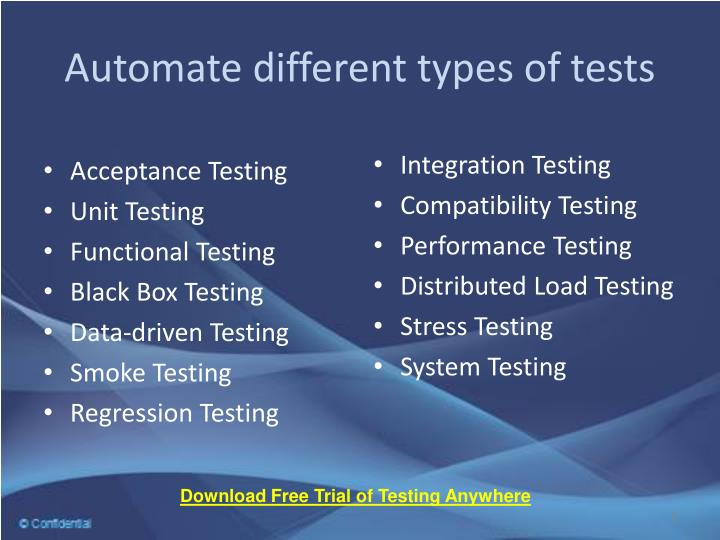 Automate different types of tests