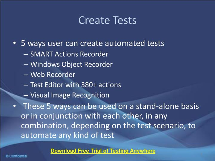 Create Tests