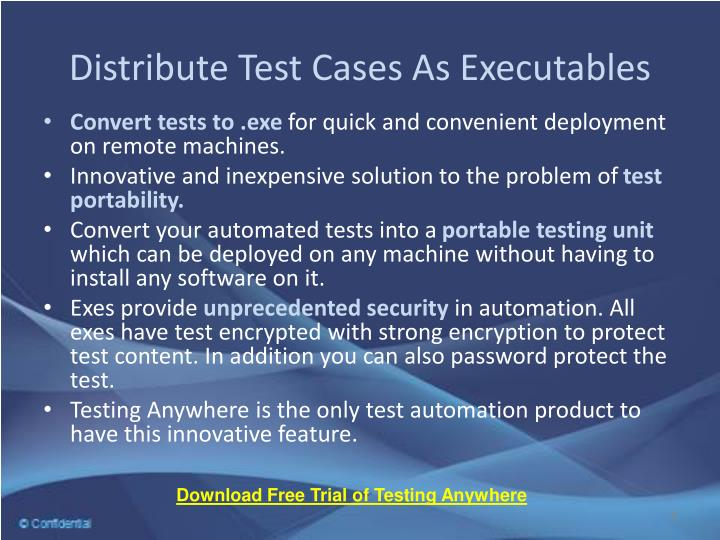 Distribute Test Cases As Executables
