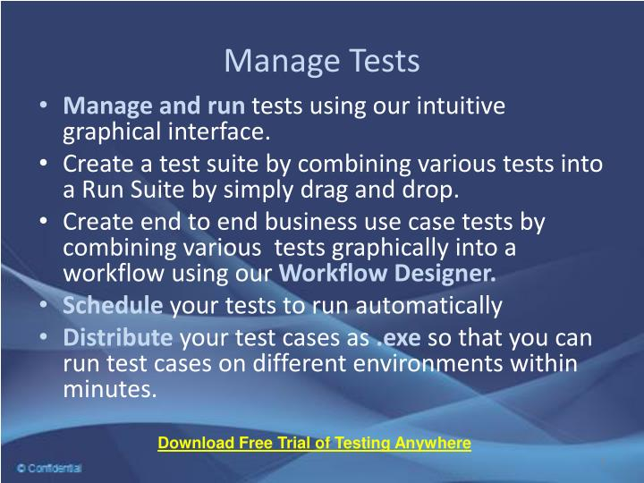 Manage Tests