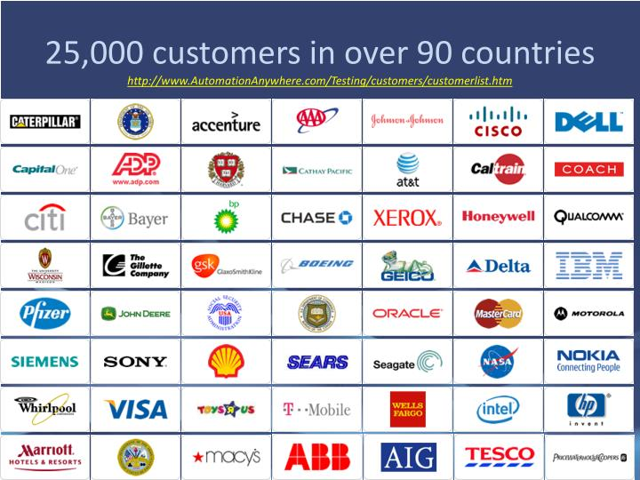 25,000 customers in over 90 countries