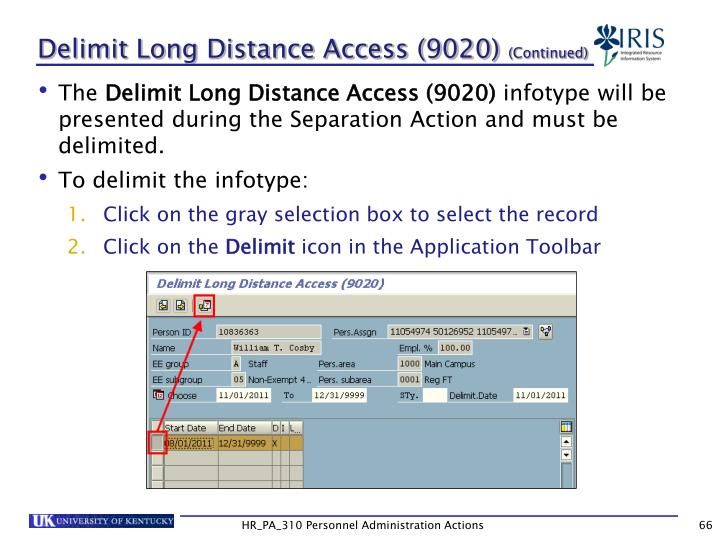 Delimit Long Distance Access (9020)