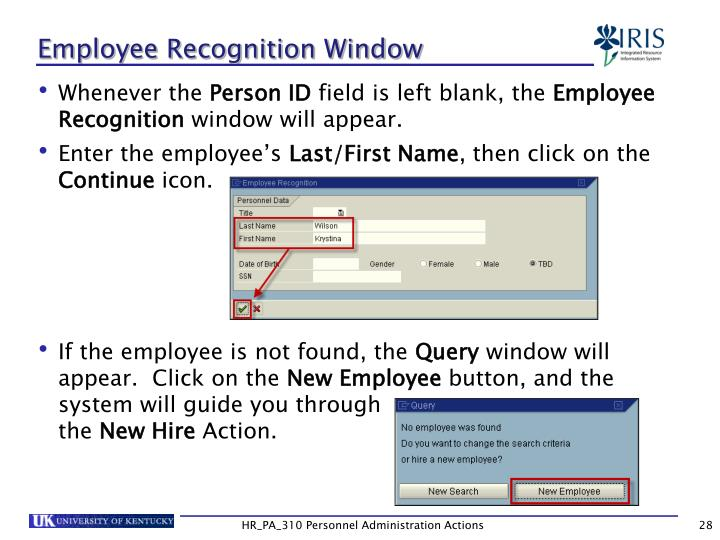 Employee Recognition Window