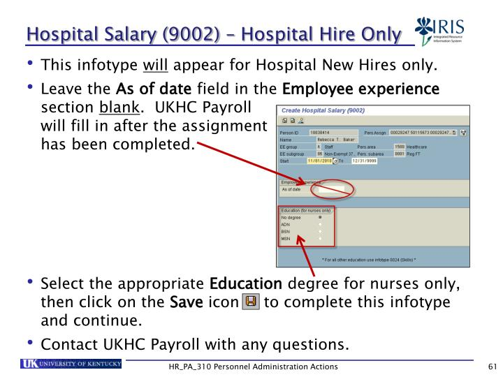 Hospital Salary (9002) – Hospital Hire Only