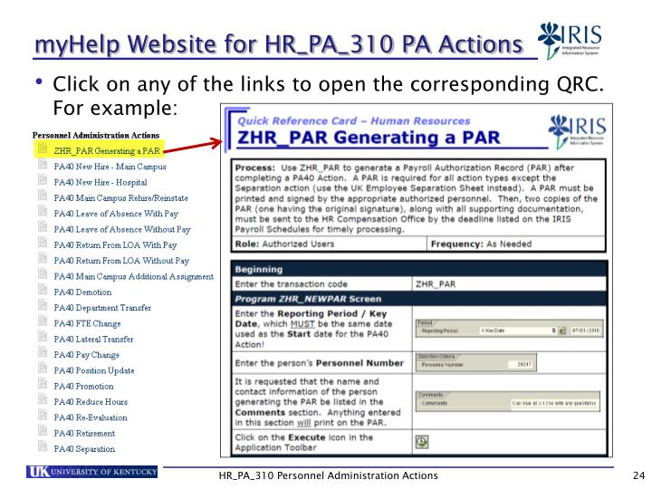 myHelp Website for HR_PA_310 PA Actions