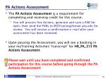pa actions assessment
