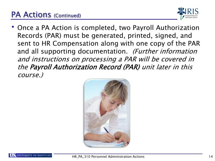 PA Actions