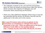 pa actions overview continued