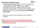 pa actions practice guide