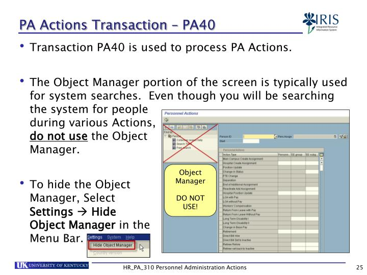 PA Actions Transaction – PA40