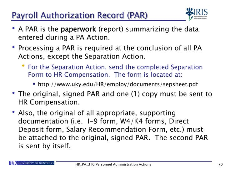 Payroll Authorization Record (PAR)