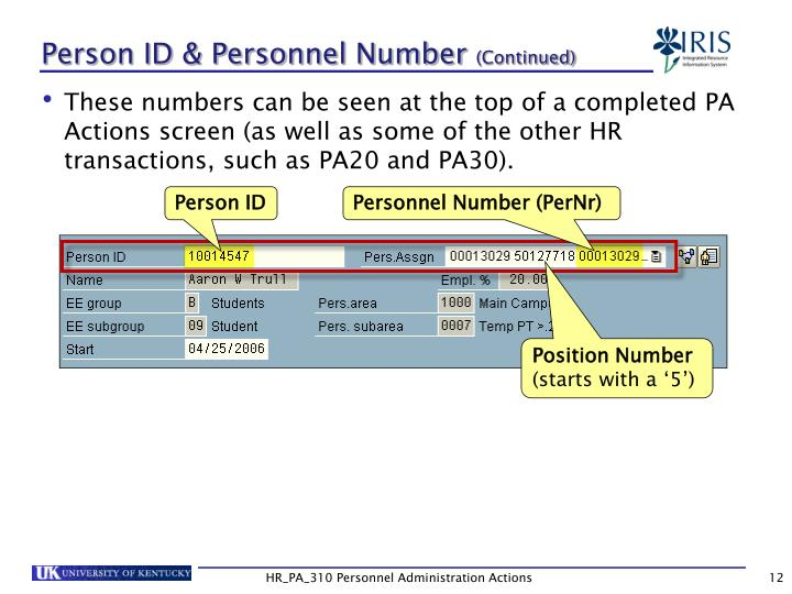 Person ID & Personnel Number