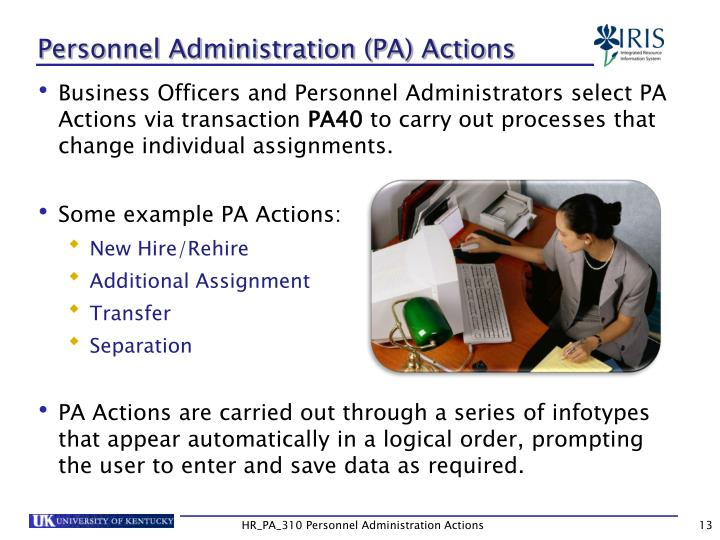 Personnel Administration (PA) Actions