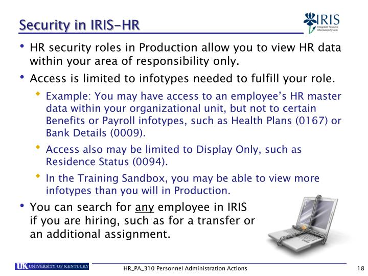 Security in IRIS-HR